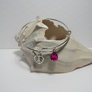 Peace Heart Love Adjustable Charm Bracelet Bangle